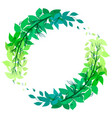 round green wreath of leaves with doodle branches vector image vector image