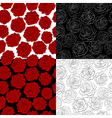 set of seamless backgrounds The outline of a rose vector image