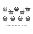 Shopping basket icons with reflection vector image vector image