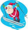 skiing santa cartoon vector image