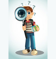 student holding books and magnifying glass vector image