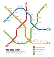 Subway metro map Template of city vector image