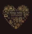 taxi heart concept golden outline vector image
