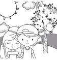 teenager boy and girl cartoon design vector image