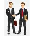 two businessmen shaking hands vector image vector image