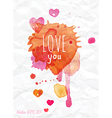 Watercolor Valentines Day card lettering vector image