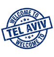 welcome to tel aviv blue stamp vector image vector image