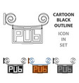 wooden pub signboard icon in cartoon style vector image