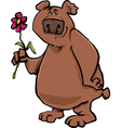 bear with flower cartoon vector image