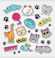 funny cats doodle with stickers and badges vector image