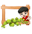 A frame with a plant and a boy vector image vector image