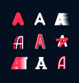a set emblems capital letters a latin vector image