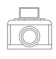 analog camera with flash light photo equipment vector image vector image