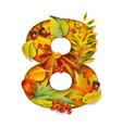 autumn stylized alphabet with foliage digit8 vector image vector image