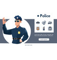 banner officer police and linear icons set vector image