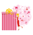 Big present for woman pink vector image vector image