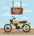 biker culture poster with classic motorbike in vector image vector image