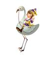 Boy riding a flamingo vector image vector image