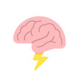 brain like cloud with lightning brainstorm power vector image vector image