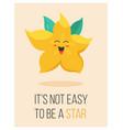 bright poster with cute cartoon carambola vector image