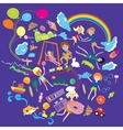Children play in the big world with toys and vector image vector image