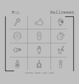 collection of 12 halloween icons in thin line vector image vector image