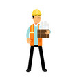 construction engineer in hard hat and orange vest vector image vector image