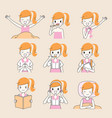 daily routines of girl outline vector image