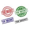 damaged textured top secret stamp seals vector image