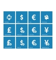 Exchange Rate icons on blue background vector image