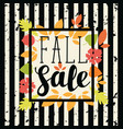 fall sale design with colorful autumn leaves vector image vector image