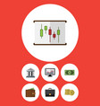 flat icon gain set of diagram cash bank and vector image