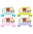 four banner design with teddybear and toys vector image vector image