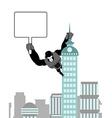 Gorilla holding blank worksheet nameplate Wild vector image vector image
