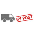 grunge post seal stamp and halftone dotted van vector image vector image