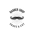 hand drawn mustache barber shop logo inspiration vector image vector image