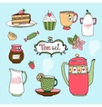 Hand-drawn tea set and cake icons vector image