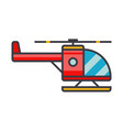 helicopter flat line concept vector image vector image