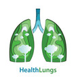 human lungs paper cut of natural concept vector image vector image