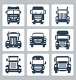 isolated trucks icons set front view vector image