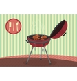 Kettle barbecue grill on vintage background vector image