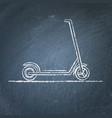 kick scooter sketch on chalkboard vector image