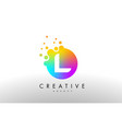 l rainbow dots letter logo letter design with vector image vector image