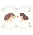 Love valentine card with hedgehogs - cute design vector image vector image