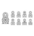 nesting doll icons set outline style vector image