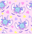 pattern with head unicorn vector image vector image