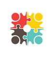 people teamwork gear puzzle logo design vector image vector image
