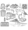portugal landmarks and images sketch vector image