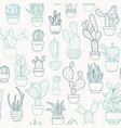 potted cactus succulent plants seamless pattern vector image vector image