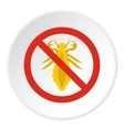 Prohibition sign insects icon flat style vector image vector image
